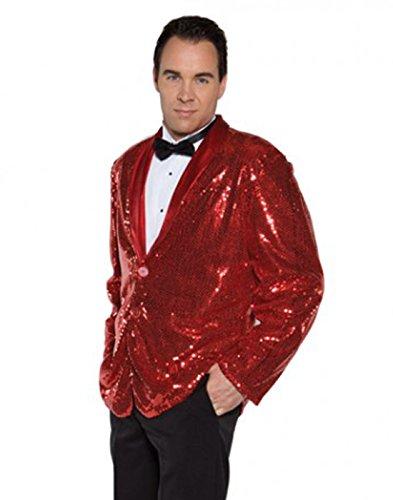 Underwraps Men's Sequin Jacket, Red, One Size (Secret Agent Tuxedo Adult Mens Costume)