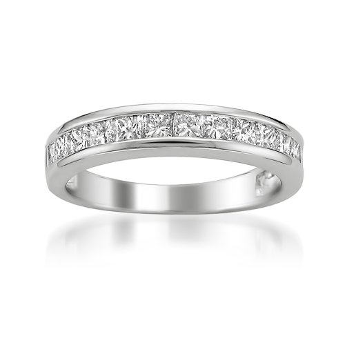 14k White Gold Princess-cut Diamond Bridal Wedding Band Ring (1 cttw, I-J, I2-I3), Size 10