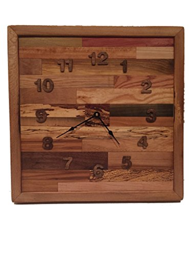 Reclaimed Tennessee Wood  Rustic Square Pattern Industrial wall clock,  Handmade in America