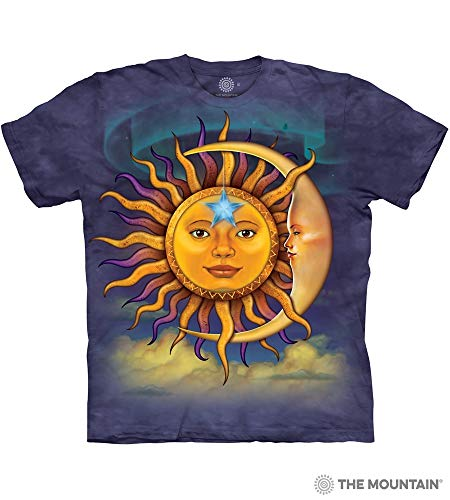 Design T-shirts Fine (The Mountain Sun Moon-M Adult T-Shirt, Blue and Purple, Medium)