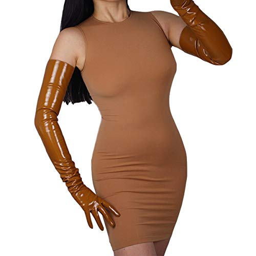 DooWay LATEX Super LONG GLOVES 28-inch PU Faux Leather Patent 70cm Simulation Women Evening Party Dress Matching