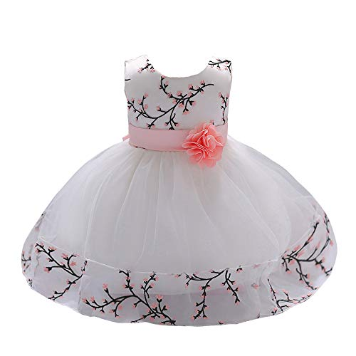 LZH Baby Girl Dress Formal Christening Baptism Gowns Pageant Dress for Toddler, White-49, 70(3-6 Months)