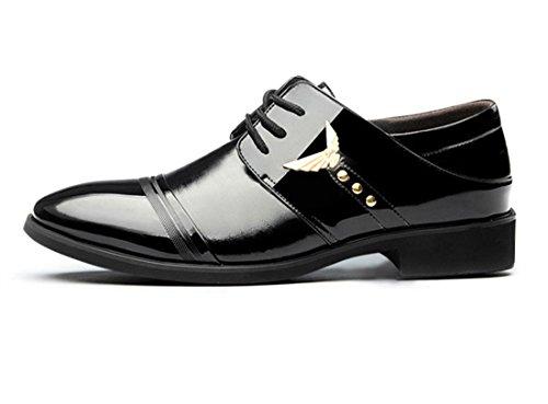 Noir Chaussures Ville pour Chaussures à de Oxfords Neuves Lacets Cuir Hommes qianchuangyuan PU D'Affaires Bout qFwf1xBW