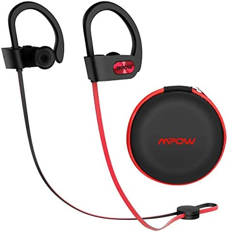 Mpow Flame Upgraded Bluetooth Headphones with Case, IPX7 Waterproof Wireless Earphones Sport W Mic, 7-9 Hrs Playtime, in-Ear Wireless Earbuds W Rich Bass HiFi Stereo, Running Headphones, Red