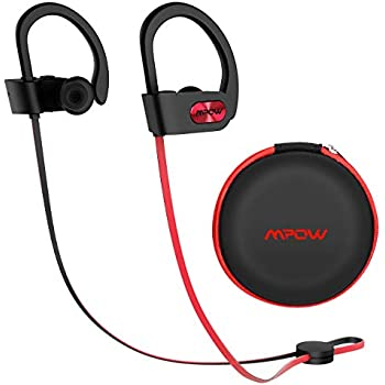 Mpow Flame Upgraded Bluetooth Headphones with Case, IPX7 Waterproof Wireless Earphones Sport W/Mic, 7-9 Hrs Playtime, in-Ear Wireless Earbuds W/Rich Bass & HiFi Stereo, Running Headphones, Red