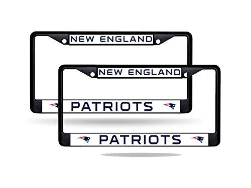 Rico New England Patriots NFL Black Metal (2) License Plate Frame Set