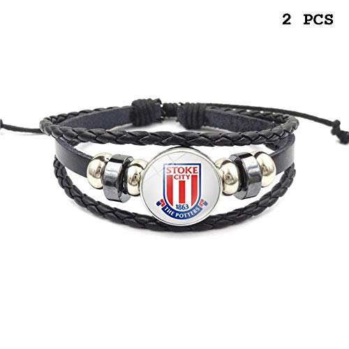 FANwenfeng Retro Premier League Soccer Club Badge Beaded Woven Leather Bracelet Football Sport Wristband for Fans 2 Pcs (Stoke ()