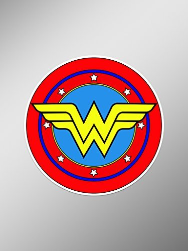 Retro Wonder Woman Symbol Vinyl Decals Stickers ( Two Pack ) | Cars Trucks Vans Walls Laptops Cups | Printed | 2-4 inch Decals | KCD991