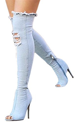 Aloe.W Women's Shoes Over the Knee Thigh High Open Toe Sexy Stiletto Heel Denim Boots