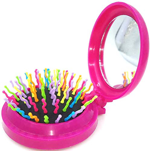 Mini Travel Makeup Hair Brushes Folding Hair Brush Gifts for Women Pocket Wet Magic Round Hair Comb Mirror (Pink) (Comb Brush Mirror Set)