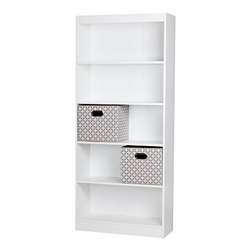 South Shore Axess 5-Shelf Bookcase with 2 Fabric Storage Baskets, Pure White (White Bookcase With Baskets)
