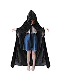 kelaixiang Black Hooded Cape With Arm Hole Velvet Satin Robe Costume Cosplay