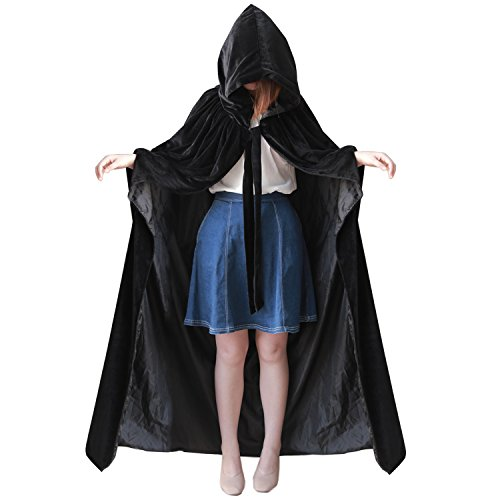 (kelaixiang Black Hooded Cape With Arm Hole Velvet Satin Robe Costume Cosplay (M,)