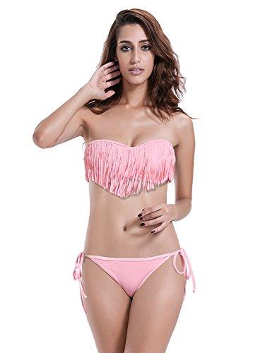 Reteron Women's Tie Side Bottom Fringe Bikini Bathing Suits(M(us4-6), Pink)