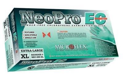 Microflex Medical NEC-288-XXL 2X Green 12'' NeoPro EC 6.3 mil Chloroprene Ambidextrous Non-Sterile Medical Grade Powder-Free Disposable Gloves, English, 15.34 fl. oz., Plastic, 1