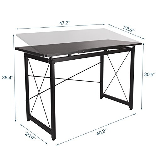 H&A 47''x 24'' Tiltable Drawing Desk Drafting Table Wood Surface Craft Station Versatile for Painting Writing Studying and Reading by H&A (Image #1)