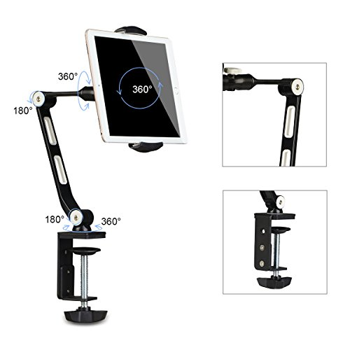 suptek 360 Degree Adjustable Stand/Holder with Clamp for Tablets & iPad iPhone Samsung Asus Tablet Smartphone and more up to 13 inches Black YF208B by suptek (Image #5)