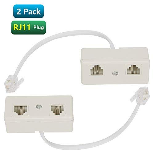 - Urmust RJ11 6P4C Plug to 2-Way RJ11 Dual Female Secondary Splitter Socket Adapter for Landline Telephone Modular Phone Cable Separator Jack Filter