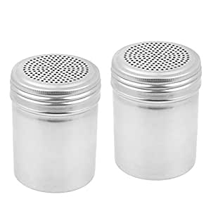 Tezzorio (Set of 2) Dredge Shakers 10 oz, Stainless Steel Spice Shakers Baking/Cooking