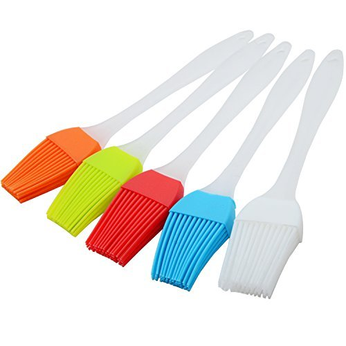 ANXVERS 5pcs Silicone Basting BBQ Pastry Brush High Temperature Grill Barbecue Oil Brush Multi-use Brush Dishwasher Safe Easy Clean BPA Free FDA Approved, 5 Colors (Red, Yellow, Blue, Orange, Clear) by ANXVERS