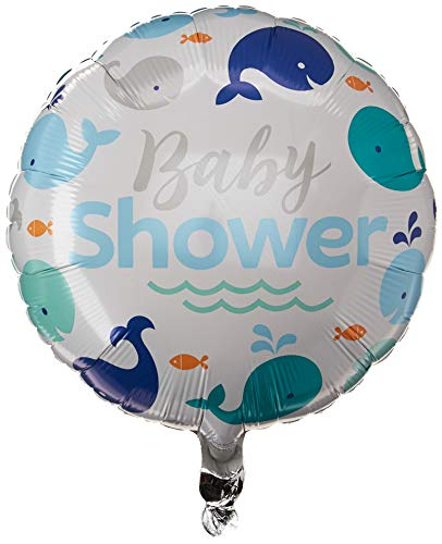 Creative Converting 324426 Blue Whale Baby Shower Foil Balloon, 18