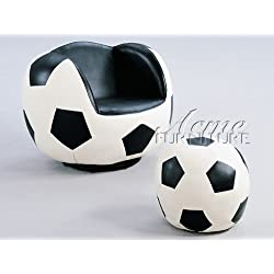 All Star Youth Soccer Theme Soccer Ball Swivel Chair and Ottoman