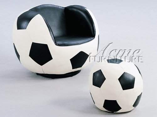 All Star Youth Soccer Theme Soccer Ball Swivel Chair and Ottoman by Acme