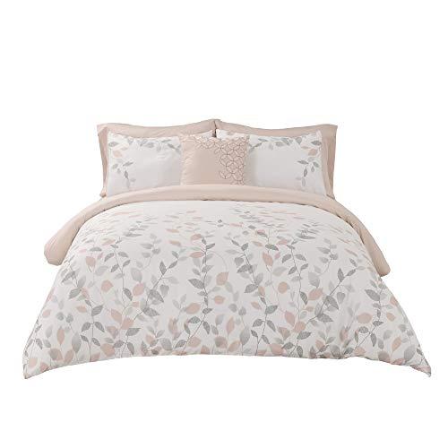 Wonder-Home Vine Leaf King Size Comforter Set(104x90) with Sheet Set, Blush and Grey Garden Floral Microfiber Bed-in-A-Bag, Super Soft Complete Bedding Set ()