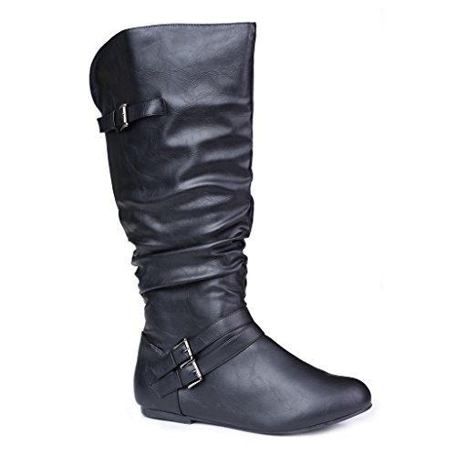 Twisted Women's SHELLY Wide Width/Wide Calf Faux Leather Knee-High Scrunch (Scrunch Knee Boots)
