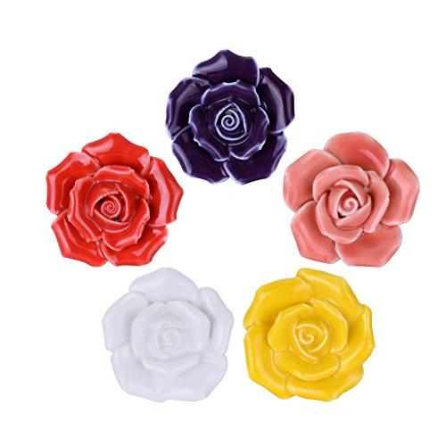 WOLFTEETH Multicolor Elegant Rose Flower Knobs Vintage Ceramic Pulls Kitchen Cabinet Dressing Table Dresser Handle 5pcs