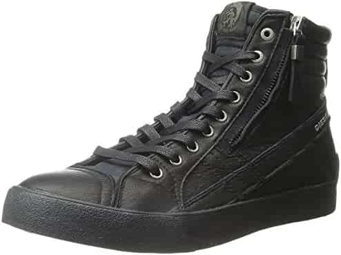 Diesel D Velows D String Plus Black Mens Leather Hi Trainers bfd45ab532e