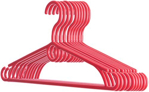 Best Made Up Costumes (Dream-home Adult Plastic Hangers 10 pc - 360 Degree Swivel Hook - Thin Strong Hold up to 7 Lbs - Space Saving - Side Hooks for Spaghetti Straps - Best for Shirts Pants Suits Dresses - Made in EU - Red)
