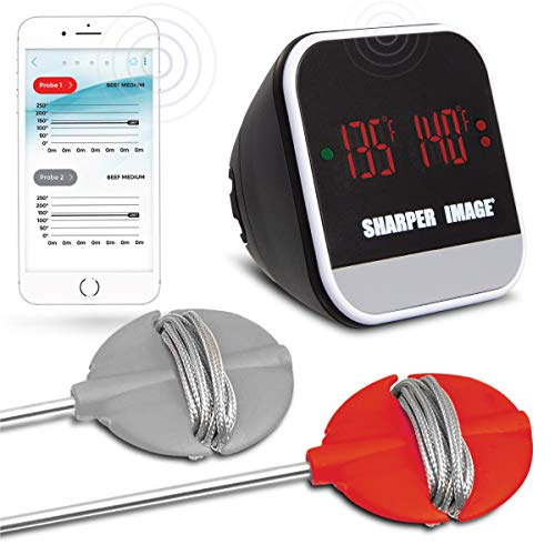 Sharper Image Bluetooth Smartphone Grill Thermometer, iOS/Android Capability W/App, Meat Probes Plus Pairing Indicator Ensure Doneness, Easy Read Digital Display, Heat Resistant, Great for ()