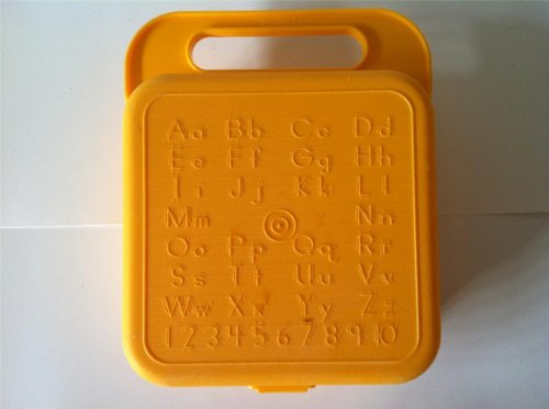 Tupperware Vintage Yellow ABC Stencil School Box - for Lunch, Crayon, Supplies or Craft