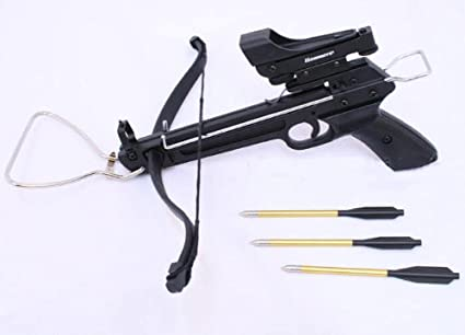 80 LB SELF COCKING PISTOL CROSSBOW W// 15 ALUMINUM BOLTS /& RED DOT SCOPE 2 STRING