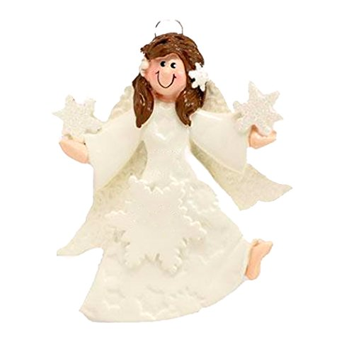 Personalized Fairy Angel Star Christmas Tree Ornament 2019 - Brunette Prayer Heaven Dress Pixie Wings Memorial Remembrance Choir - Free Customization (Brown Hair)