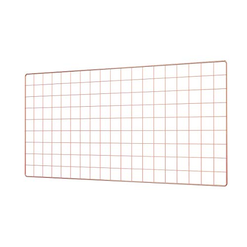 (Pulatree Grid Photo Wall(Ultra Large), Wire Wall Grid Panel for Photo Hanging Display Metal Grid Wall Decor Organizer Mesh Panels Display Wall Storage 37.4 x 17.7 inch - Rose Gold)