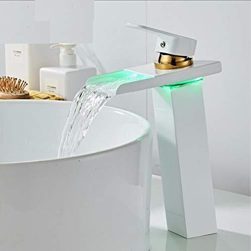 Led Wasserhahn Temperaturgesteuert Becken Wasserhahn LED   Wasserhahn Weiß und Gold Badezimmer Wasserfall Wasserhahn Badarmaturen