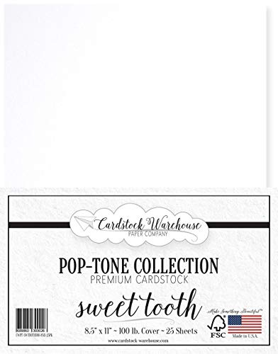 Sweet Tooth White Cardstock Paper - 8.5 x 11 inch 100 lb. Heavyweight Cover - 25 Sheets from Cardstock -