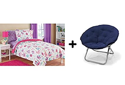 Sensational Kids Pretty Princess Floral Castle Unicorns And Hearts Reversible Bedding Twin Comforter For Girls 5 Piece In A Bag With Large Soft Microsuede Beatyapartments Chair Design Images Beatyapartmentscom