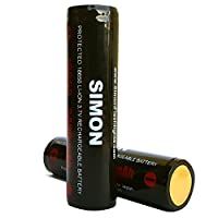 Simon 3400mAh Two 18650 Protected Panasonic 18650 Rechargeable Battery - High Performance - 3.7 Volt - Dual Protection for High Performance Flashlights