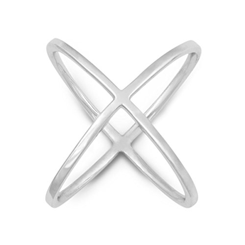 """Used, Sterling Silver High-Polish """"X"""" Criss-Cross Long Ring for sale  Delivered anywhere in USA"""