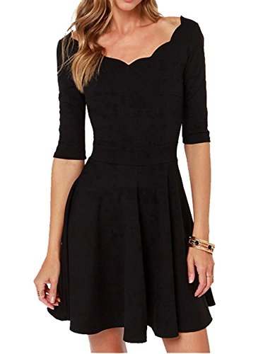 Tengo Women Slim Flared Tunic Corrugated Neckline Dress (L, Black)