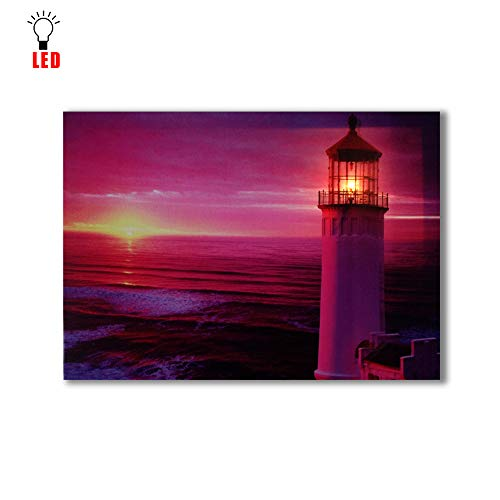 """Light House Wall Art Painting LED - Portland Headlight Picture LED Canvas Print Sunset and Ocean Themed Wall Pictures for Living Room,Battery Operated(15.75""""x 11.8"""")"""
