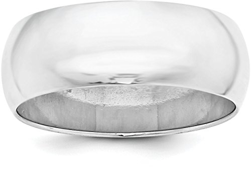 Sterling Silver 8mm Plain Half-Round Classic Wedding Band - Size 10 (Plain Band Finish Silver Polished)