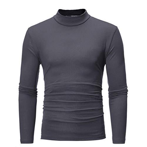 - iLXHD Autumn Winter Men's Striped Turtleneck Long Sleeve T-Shirt Top Blouse Dark Gray