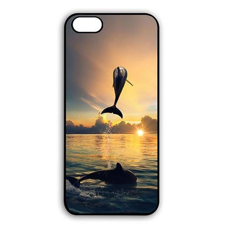 Customized iPod Touch 6 Generation 6th Rugged Plastic Cover Case Kawaii Dolphins Couple - Couple Dolphins