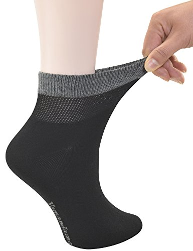 Toe Seamless Socks (Yomandamor Women's Bamboo Diabetic Ankle Socks with Seamless Toe and Non-Binding Top,6 Pairs Size 9-11)