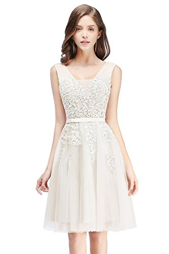 Women Lace Evening Cocktail Dresses Short Gala Ball Party Gown,Ivory,Size 6