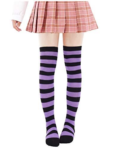 (Anime Multicolor Preppy Over Knee Mizore Shimakaze Stripe Stockings (Purple+black))